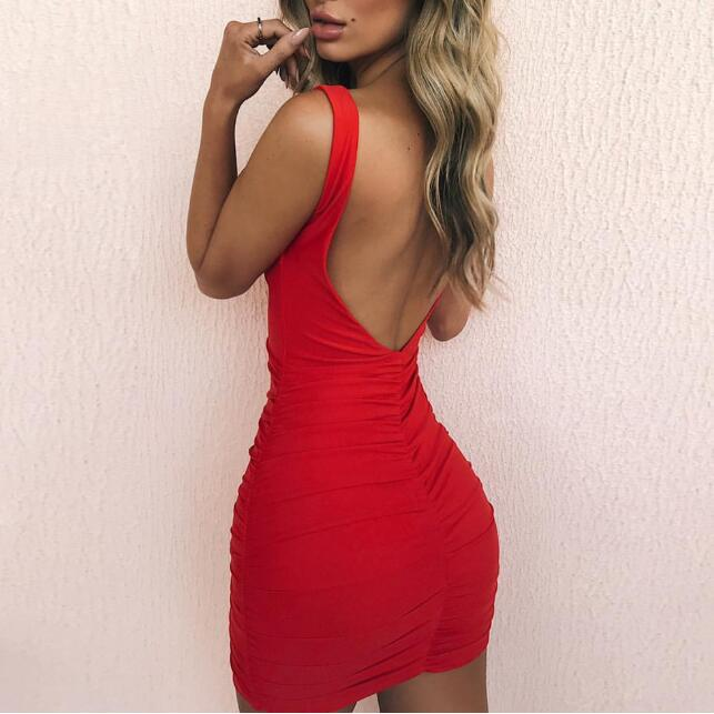 Sexy Backless Summer Dress Women V-neck Sleeveless Sheath Mini Bodycon Dress Red Party Dress Vestido New Dresses