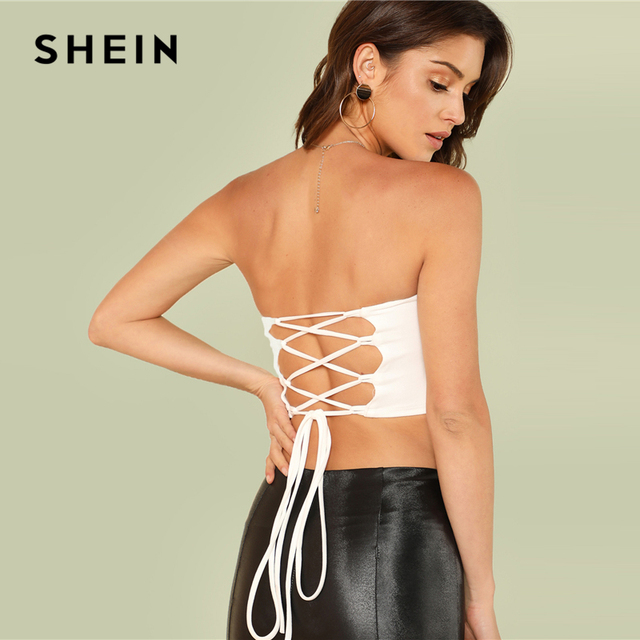 4f6e62d438 SHEIN White Sexy Elegant Backless Lace Up Criss cross Back Slim Fit Crop  Bandeau Top Summer