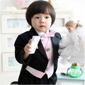 BABY WOW New toddler baby boys black tuxedo clothing set formal birthday party wedding dress for 1 - 2 years baby boy 80201