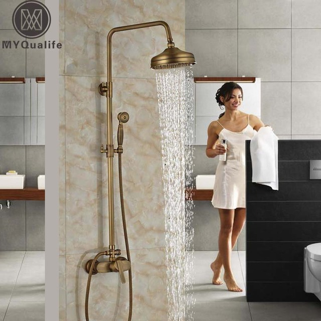 Wall Mount Outdoor Shower Faucet Antique Br 8 Rainfall Mixer Kit With Handshower Bathroom Taps