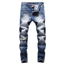 99bf6f6188bedc Italienische Vintage Stil Mode herren-Jeans Blau Farbe Weiß Waschen  Klassische Zerrissenen Jeans Männer Tasten Hosen Marke Biker.