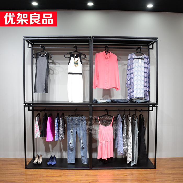 Clothing store display shelf, shelf, home shelf, clothes rack, floor hanger, double deck clothing rack, men and women store стоимость