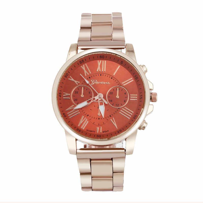 Reloj de moda con estilo para hombre saati colorido reloj de acero inoxidable con números romanos reloj de cuarzo para mujer