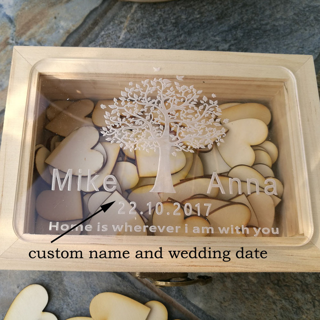 Custom Wooden Rectangle Keepsake Box With 100 Hearts Personalized Wedding Acrylic Engraving Guest Book