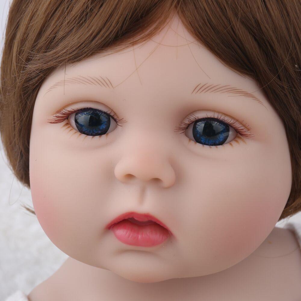 NPK BONECA Reborn Bebê Menina Cheia de silicone Vinil bonecas brinquedos para as crianças Presente de Aniversário Lucy Marrom Peruca de Cabelo bebe s reborn boneca - 5