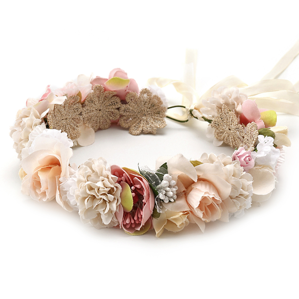 Flower Crown Headband Hair-Accessories Garland Ribbon-Bow Rose Elastic Wedding-Floral