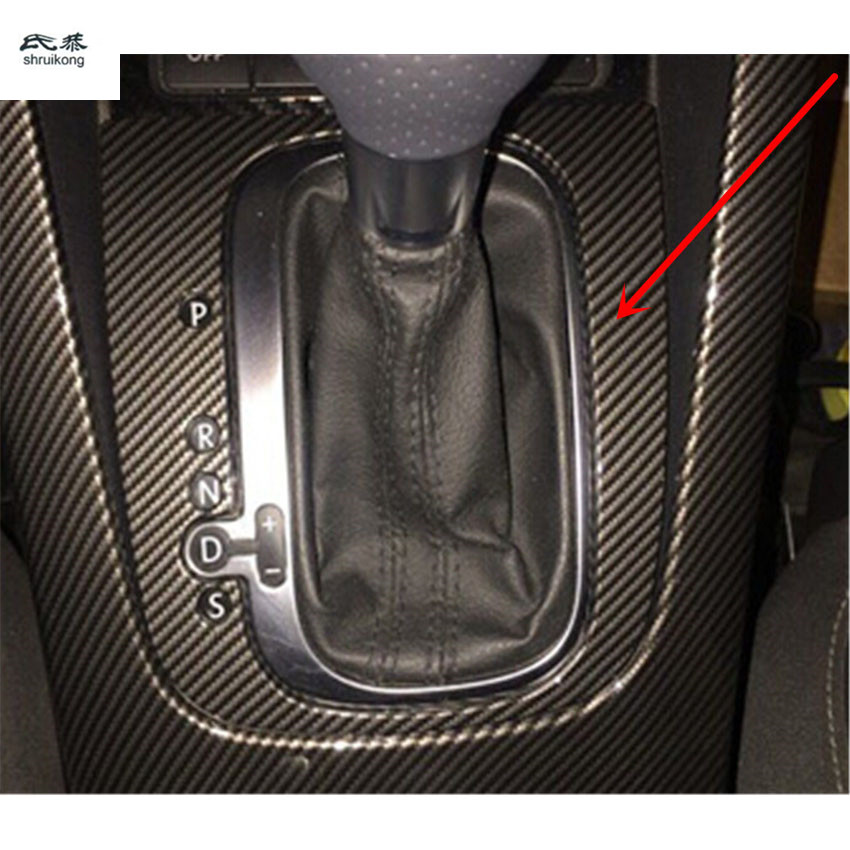 Free shipping 1pc Car stickers carbon fiber ABS material gear panel decoration cover for 2009 2017