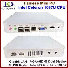 Бесплатная доставка без вентилятора тонкий клиент мини настольный, 4 ГБ ОЗУ 64 ГБ SSD, Intel Celeron 1037U Dual Core 1.8 ГГц 1080 P HDMI Win 7 WIFI