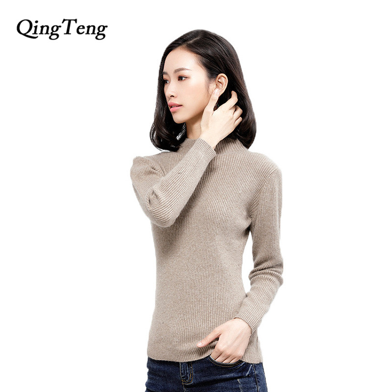 QingTeng Womens Turtleneck Woolen Sweaters Autumn Winter 2017 Casual Long Sleeve Knitted Pull Femme Christmas Sweater Pullover