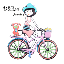 D&Rui Jewelry Cute Metal Girl Riding a Bike Brooches Pins Fashion New Design Enamel Brooch Pin for Woman Brand Christmas Gift