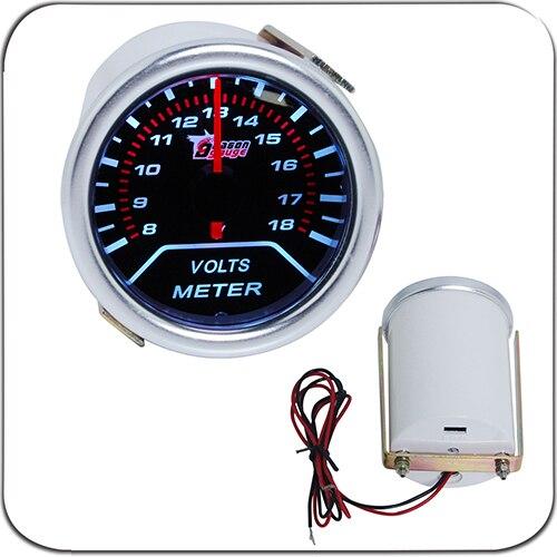 "2"" 52MM Universal Voltage Volts Car Gauge 8-18v Meter Auto White LED"