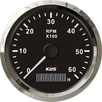 Tacómetro de motor diésel de gasolina, medidor resistente al agua KUS 85MM, 0-6000RPM, con reloj de arena, fueraborda marino, barco, camión, coche, RV