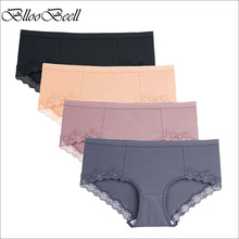 BllooBeell New Women Cotton Underwear Sexy Lace Panties Womens Briefs Mid Low-Rise Girls Pants Ladies Lingerie Comfortable Cute