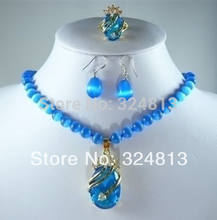 New blue opal crystal pendant earring set(China)
