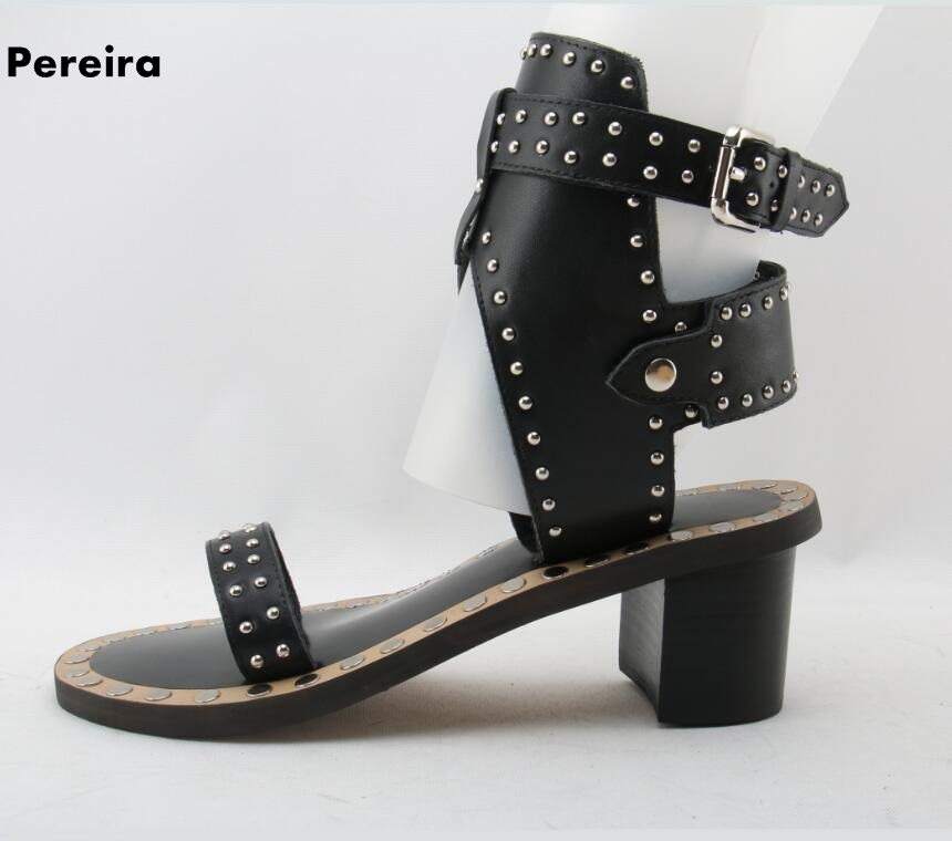 Rome black real leather woman summer sandals open toed square heel med heel woman party shoes buckle strap barefooted sandals [h]summer think mid heel dress sandals rough with the fish head word buckle sandals open toed sandals european dfgd 528