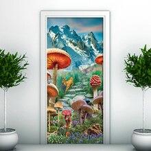 Mountain Mushroom Elk Scenery Corridor Door Background Decorative PVC Wall Sticker For Kids Room Bedroom Home Decor Door Sticker