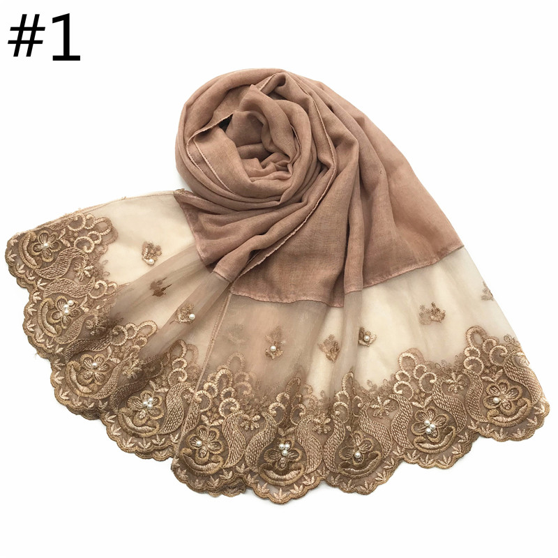 1pc Two Sides Lace Edges Muslim Cotton Scarf Plain Hijab With Pearl Embroidery Soft Shawl Veil Stitching Long Headscarf Muffler