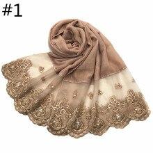 1 pc 양면 레이스 가장자리 이슬람 면화 스카프 진주 자수와 일반 hijab 부드러운 목도리 베일 스티치 긴 headscarf 머플러