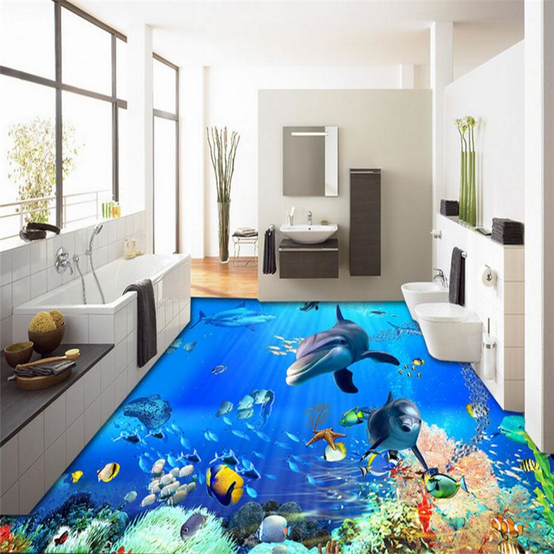 beibehang Underwater World Dolphins floor murals wall stickers 3D self-adhesive wallpaper for living room wall paper home decor  beibehang summer beach floor floor murals wall stickers 3d wallpaper for living room pvc floor self adhesive papel de parede 3d