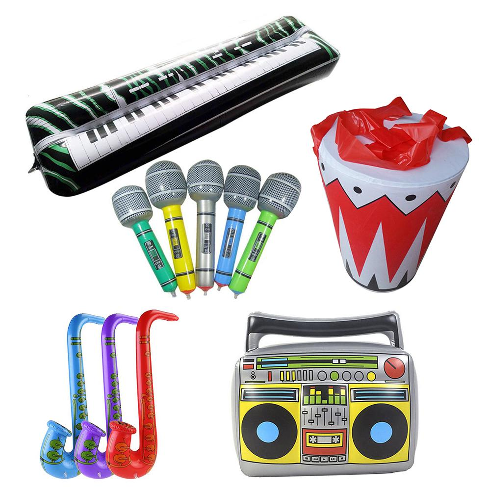 Inflatable Musical Instruments Air Microphone/Sax/Drum/Keyboard/Radio Toy Blow Up Part Balloon Toys