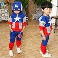 2017 Recién Llegado de Niñas Ropa Traje pentáculo estrella carta Capitán América Zipper jacket + pants 2 unids/set Kids Set de los niños