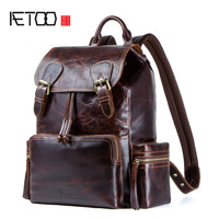 AETOO новый кожаный рюкзак мужской Crazy Horse кожаный рюкзак многофункциональный Ретро Для мужчин мешок