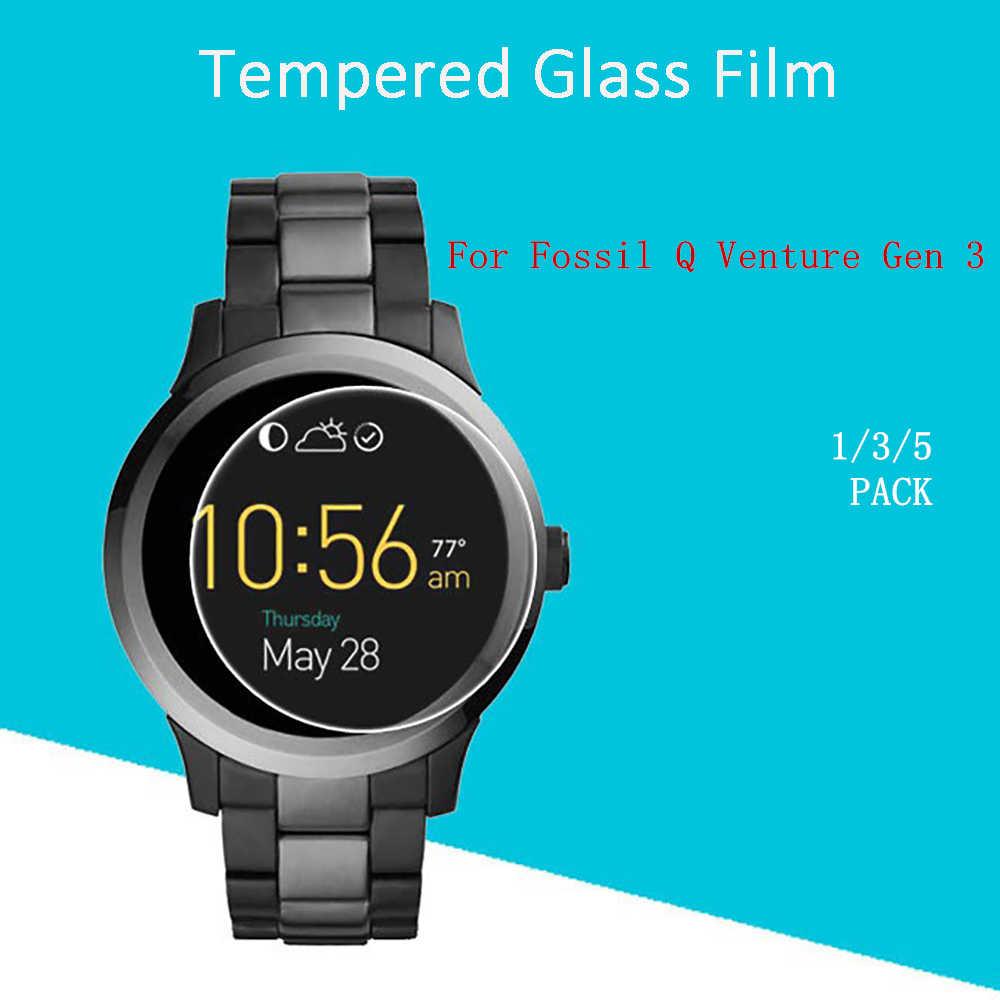 1/3/5 PCS Vidro Temperado de Cinema Capa Para Fósseis Q Venture Gen Relógio 3 Protetor De Tela Varejo pacote e Ferramentas 2.5D 9 H 0.3 milímetros 99%