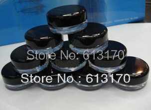 3g plastic empty cream jar face care cosmetic Container mini sample jar clear nail art powder jar balck cap free shipping 10pc mini refillable bottles cosmetic empty jar acrylic pot eyeshadow acrylic makeup bottle jar face cream box container storage
