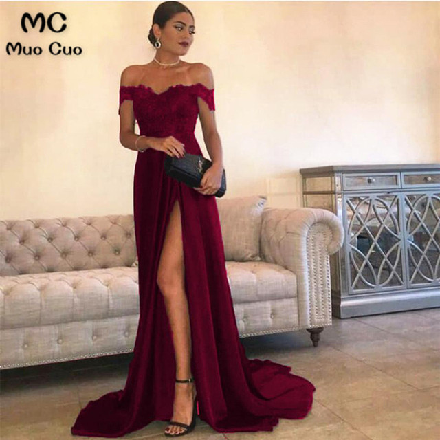 2018 Burgundy A-Line Off Shoulder Prom Dresses Short Sleeve Front Slit  Sweep Train Formal Evening Party Dress for Women ca488268d