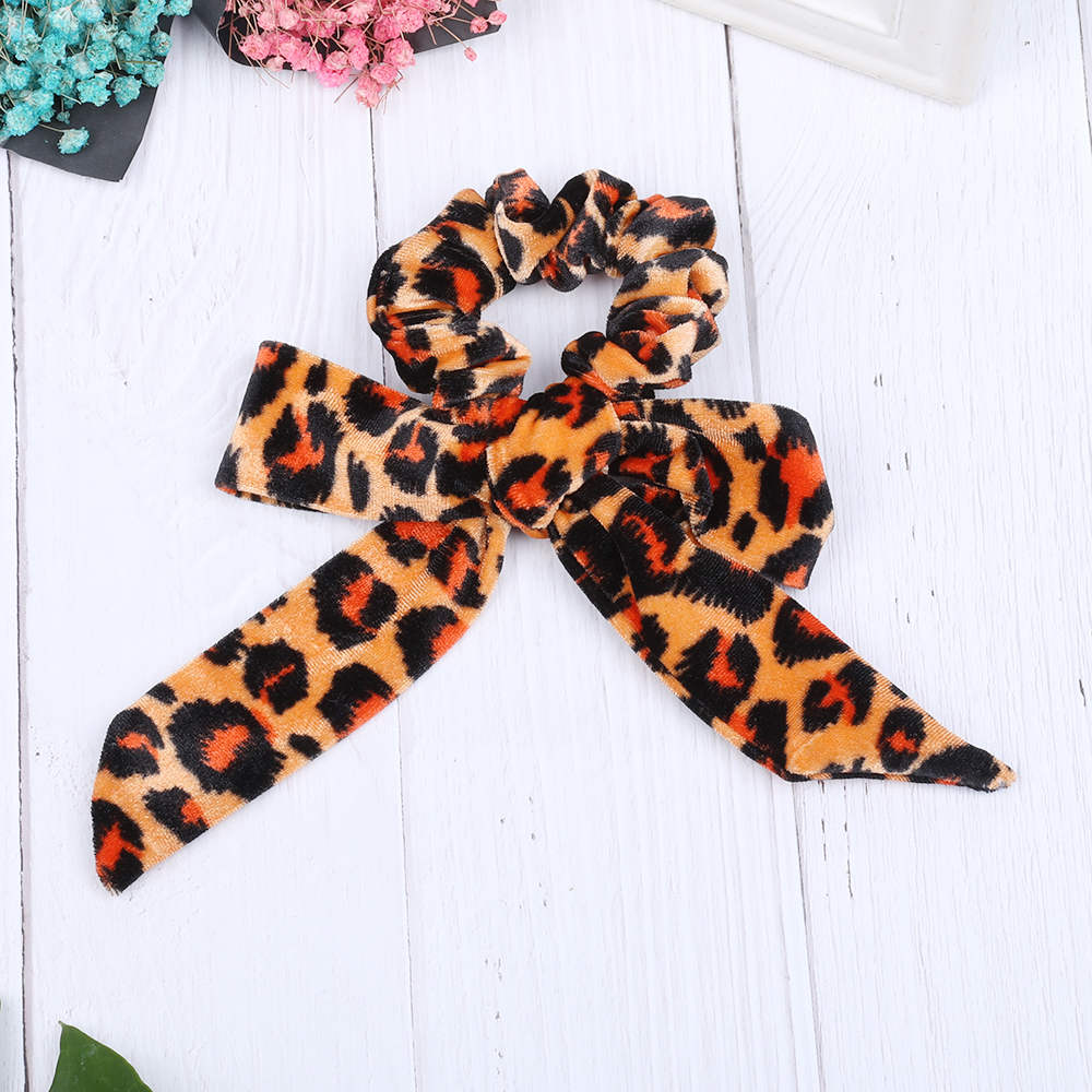 Women's Hair Accessories Korean Fashion Bow Hair Rope Velvet Stretch Hair Rings Leopard Print Scrunchie Women Hair Accessories Ponytail Rubber Hair Band A Complete Range Of Specifications