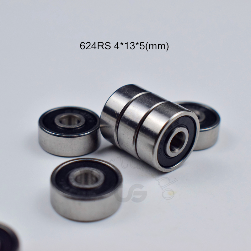 624RS 4*13*5(mm) 10pieces ABEC-5 Bearing 10pcs Rubber Sealed Miniature Mini Bearing Free Shipping 624 624RS Chrome Steel ABEC-5