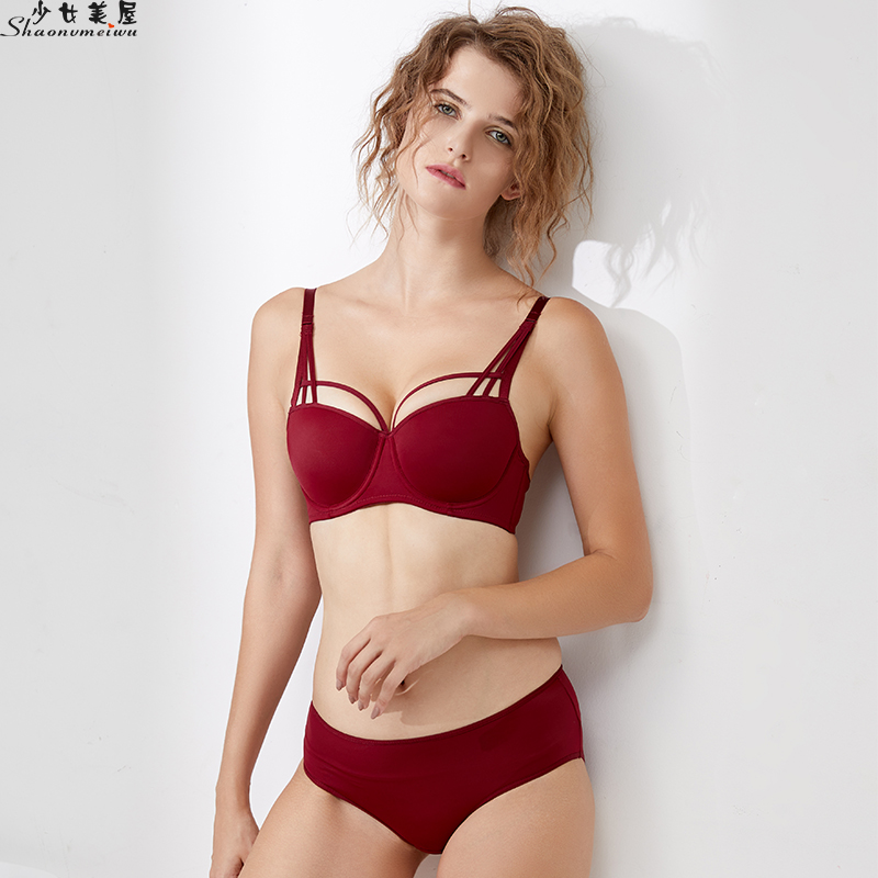 shaonvmeiwu Sexy slim belt with thin underside thick cup sexy lingerie   bra     set     bra   gathers women together