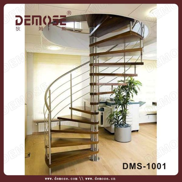 Stainless Steel Wood Spiral Staircase For Small House Staircase   Steel Ladder Design For Home   Wrought Iron   House   Residential   Interior   Contemporary