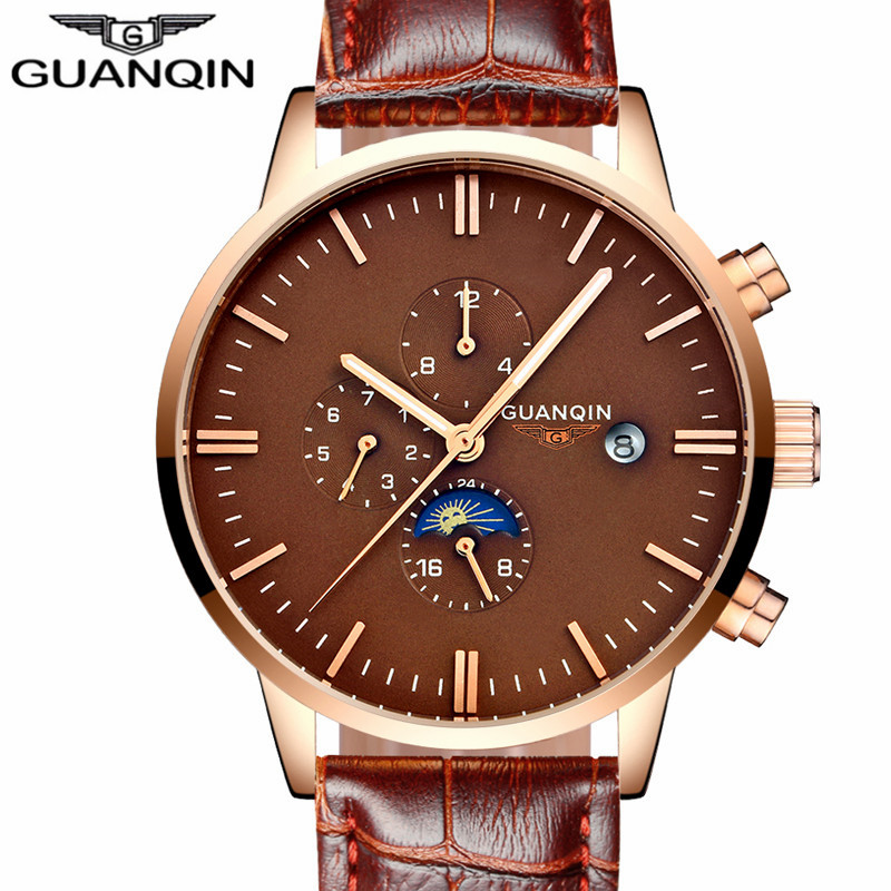 relogio masculino GUANQIN Luxury Brand Automatic Self-Wind Watch Men Casual Moon Phase Function Leather Strap Male Wristwatch forsining men luxury brand moon phase genuine leather strap watch automatic mechanical wristwatch gift box relogio releges 2016