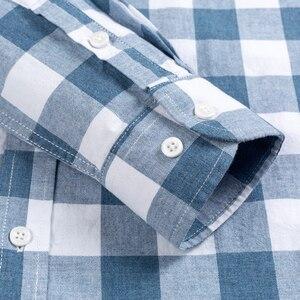 Image 4 - Chemises Standard anglaises en coton, carreaux, à manches longues, poche simple à Patch, chemise rayée, de Style anglais, décontracté