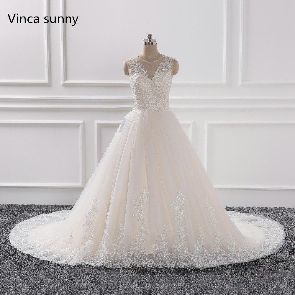 Romantic Wedding Dresses 2019: Robe De Soiree 2019 Romantic Lace Sleeveless Champagne