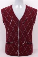 Высокое качество Коза, кашемир argyle вязать мужчин Мода v образным вырезом толстый кардиган свитер красный 2 цвета S/3XL