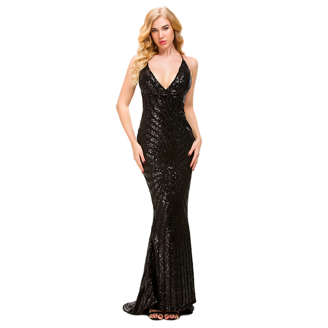 Deep V Neck Sequined Party Dresses Black Maxi Dresses Sleeveless