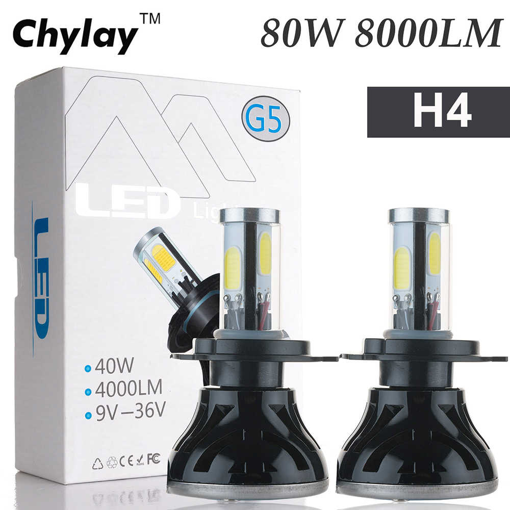 2x All in One Led Lamp h4 80W 8000LM  H7 H11 9005 H10 9006 for Automotive Headlight Fog bulb Car Light
