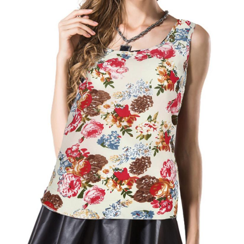 Daily Printed  Womens Tank Tops Summer Women  O-Neck  Printed Sleeveless Vest  Chiffon Tops T-Shirt  M#7
