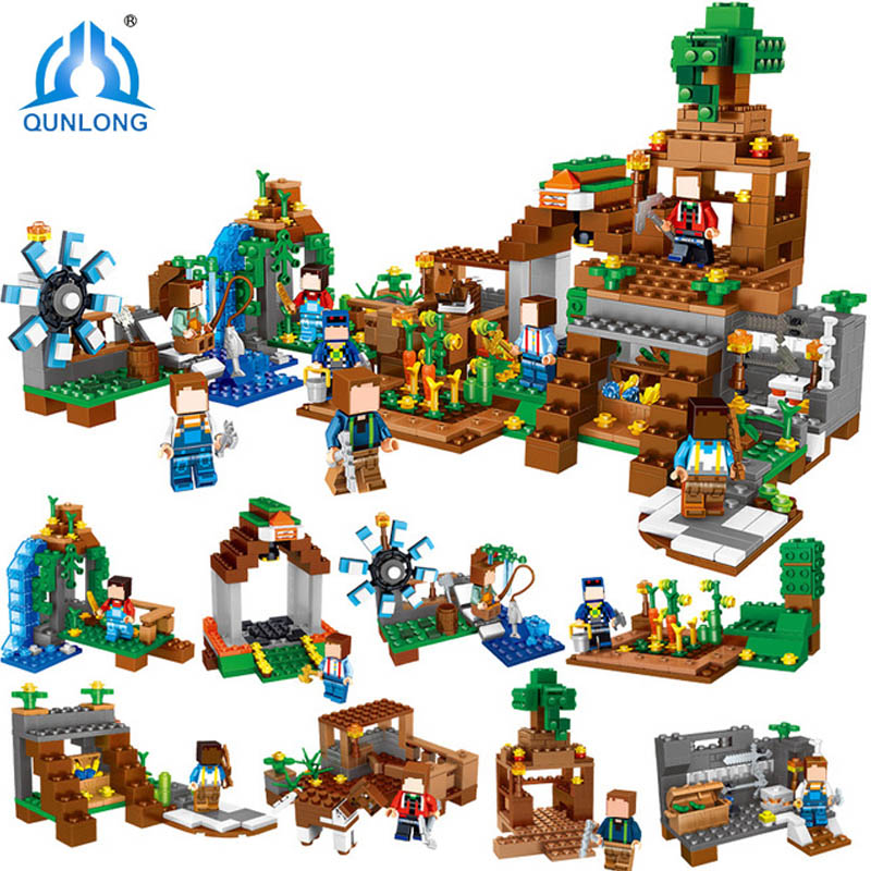 Qunlong 771pcs 8 in 1 Minecrafted Compatible With Legoe Figures Building Blocks My World Estate House Bricks Toys For Kids Gifts qunlong 410pcs my world camilla village minecrafted building blocks sets educational bricks toys for kids compatible legos city