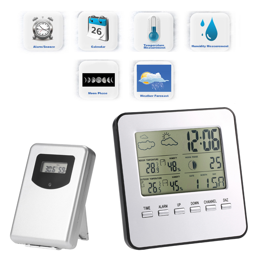 Indoor Outdoor Digital Thermometer Hygrometer Wireless Weather Station temperature meter Clock Calendar Alarm Moon Phase Display