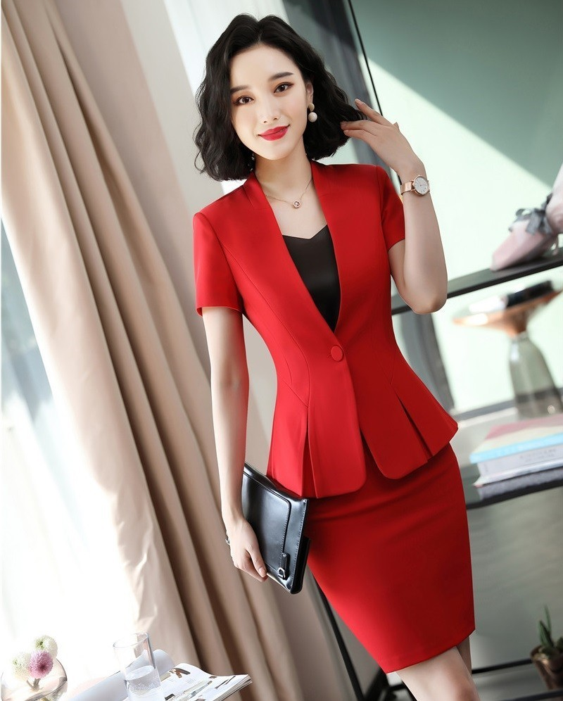 Fashion Red Novelty Women Business Suits With Tops And Skirt Ladies Office Work Wear Professional OL Styles Blazers Slim Sets