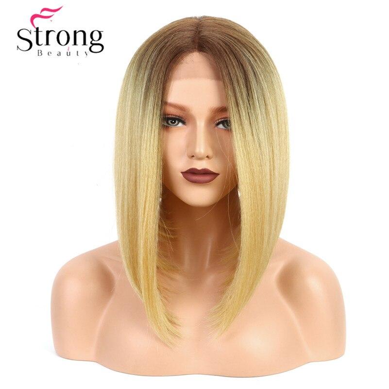Perruque frontale en dentelle forte beauté Yaki coupe de cheveux Bob droit résistant à la chaleur/moyen U partie naturelle Ombre Blonde perruque synthétique pour femmes