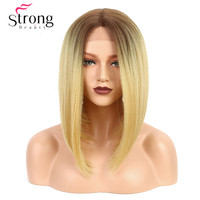 StrongBeauty Lace Front Wig Yaki Straight Bob Haircut Heat Resistant / Middle U Part Natural Ombre Blonde Synthetic Wig Women's