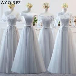 BSY0808 # серый долго середине короткие на шнуровке платья подружек невесты Свадебная вечеринка платье для выпускного вечера 2018 Весна Оптовая