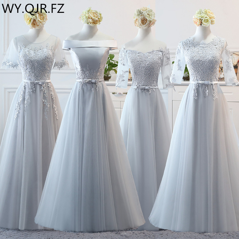 BSY0808#Grey long middle short lace up   Bridesmaid     Dresses   wedding party prom   dress   2018 spring wholesale cheap fashion clothing