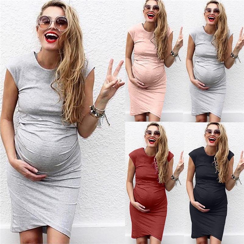 Women Fashion Solid Color Sleeveless  Maternity Pregnant Midi Dresse Vestidos Robe Femme Enceinte  For Photo Shoot D5