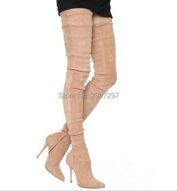 Autumn Winter Black Knee High Women Boots Wedges Heel Buckle Pointed Toe Girls Casual Party Pumps Botas Mujer Drop Shipping