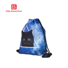 Fashion Portable Drawstring bag Girls 3D printing Cartoon cat Drawstring Backpack Women Cotton Travel Pouch Foldable reusable